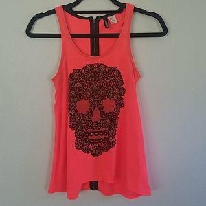 Neon Pink Skull Print Zippered Back Tank Top